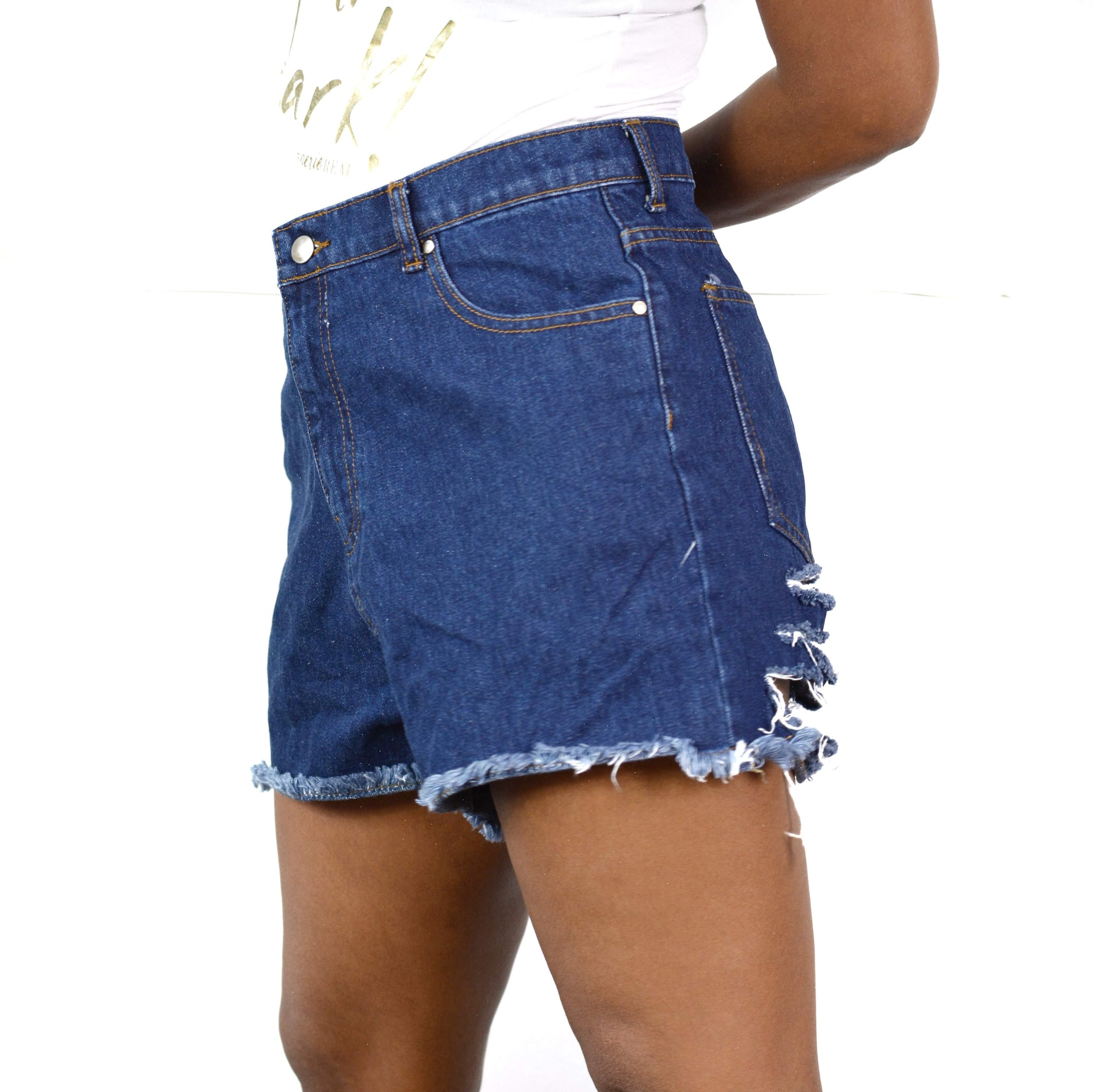 Pretty Little Thing Mom Jean Shorts Ripped Distressed High Rise 10