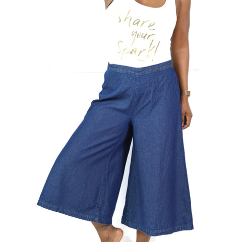 Denim Culottes Pull On Pants Studio West Apparel Flared Size Small