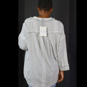 Johnny Was Tassel Tie Top Pinstripe Jacque Boho Gauzy Blouse Tunic Size Small