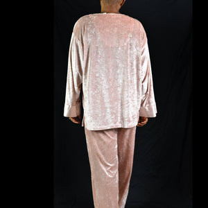 Vintage Liz Banks Pink Velour Lounge Pajama Set