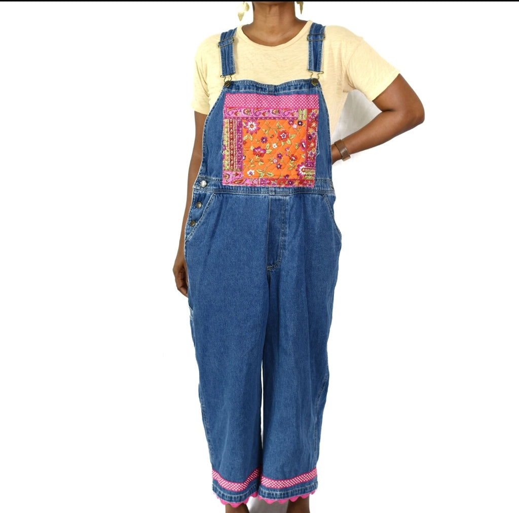 Vintage Haiks Cropped Patchwork Overalls Jeans Size Large