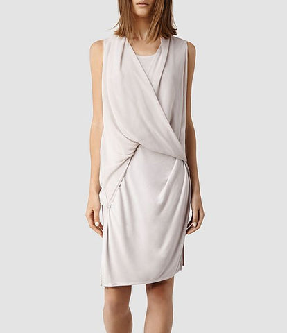 All Saints Abi Knit Draped Jersey Dress Size 4