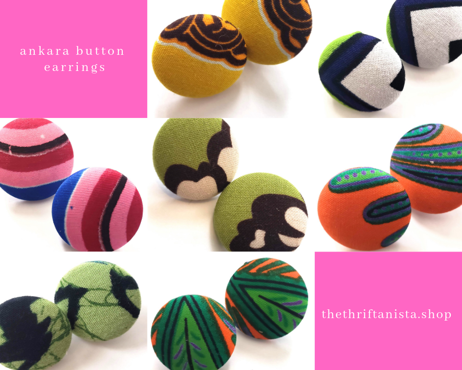 Ankara Button Earrings