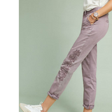 Anthropologie Chino Pants Relaxed Embroidered Tall