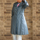 Vintage Blue Leather Trench Coat Size Medium