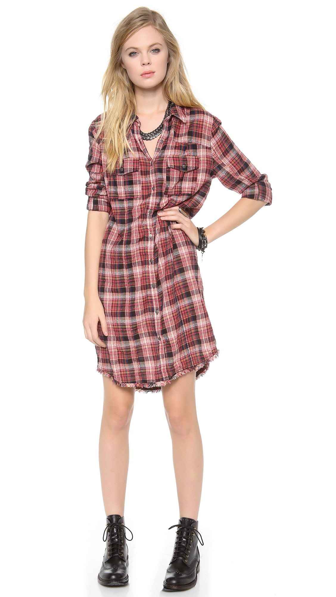 Free People Eight Days A Week Dress Plaid Size Small