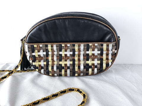 Vintage Leather Bag Black Crossbody Oval Disco Bag Gilt Chain Fringe Tassel Charm Purse Woven