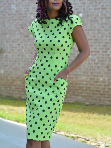 Interim Polka Dot Dress With Cap Sleeves Green and Black Vintage Wiggle Pencil Style Size 7 Small