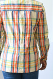 Vintage Madras Plaid Blazer Safari Jacket Made in USA Kasper for JL Sport Womens Size Small
