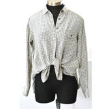 Rag + Bone Top Gray Silk Print Side Pockets Size 4