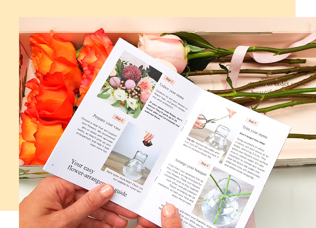 holding letterbox flower booklet