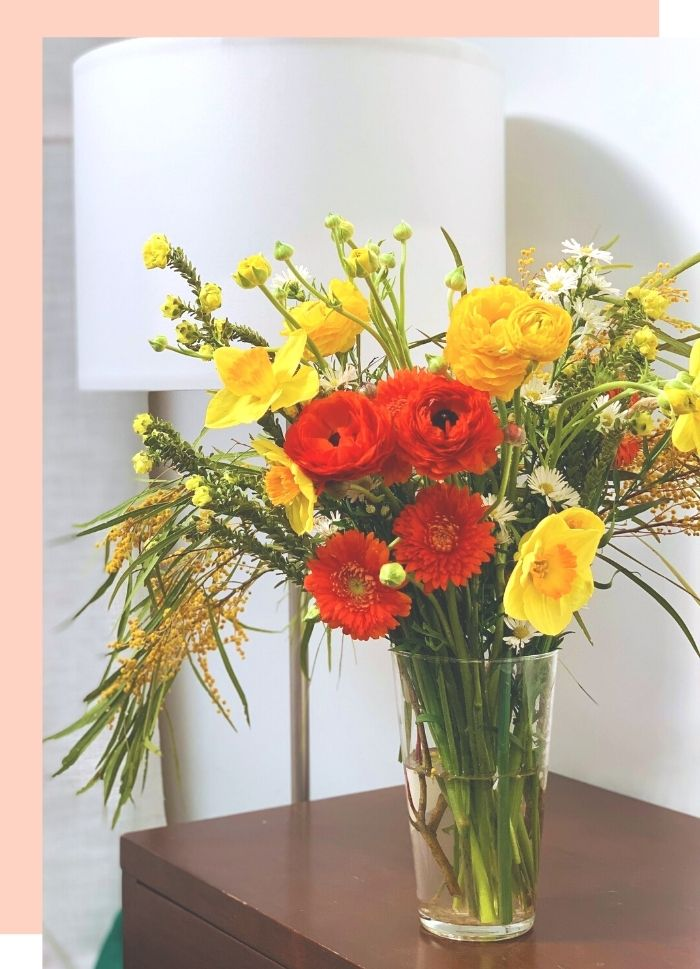 vase of flowers, arranged by local florist