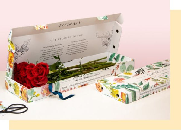 roses in floraly box