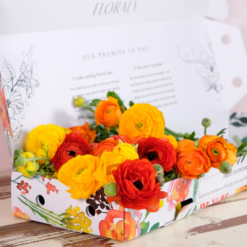 Ranunculus bright yellow and orange in a Floraly box