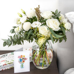 White bouquet with roses