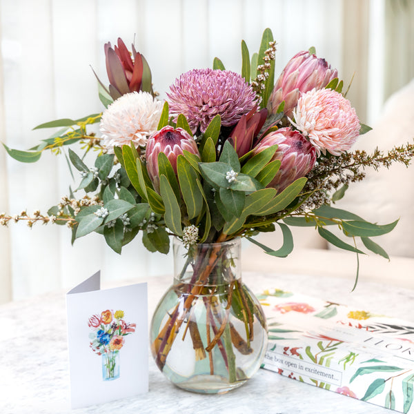 Bouquet with protea and disbud chrysanthemums