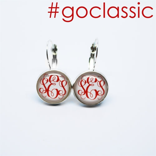 Classic Monogram Earrings | White Background - Krafty Chix