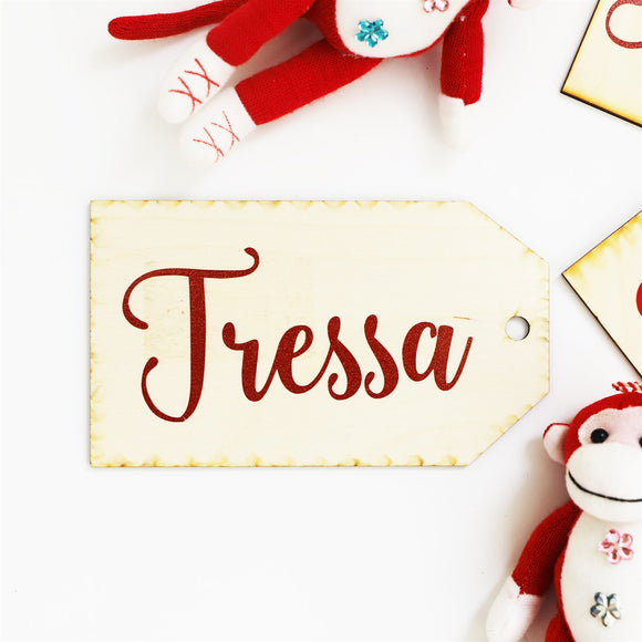 Wooden Name Tags for Stockings - VioletFox