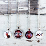 Trendy Plaid Christmas Necklaces - VioletFox