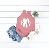 Monogrammed High Neck Racer Tanks