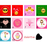 Personalized Valentine Stickers & Bags - Set of 24