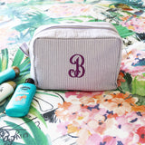 Personalized Seersucker Cosmetic Bags - VioletFox