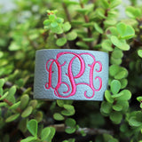Monogram Leather Cuff Bracelet / Scarf Cuff - Krafty Chix