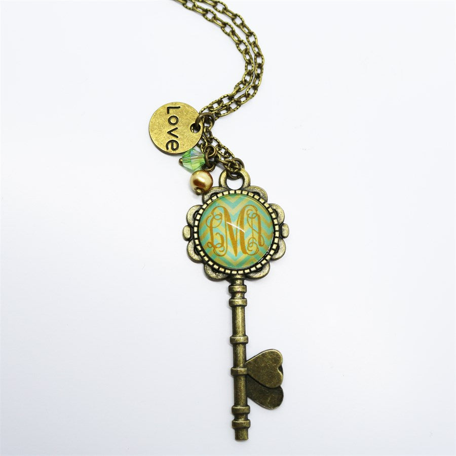 Monogram Skeleton Key Necklaces - Krafty Chix New