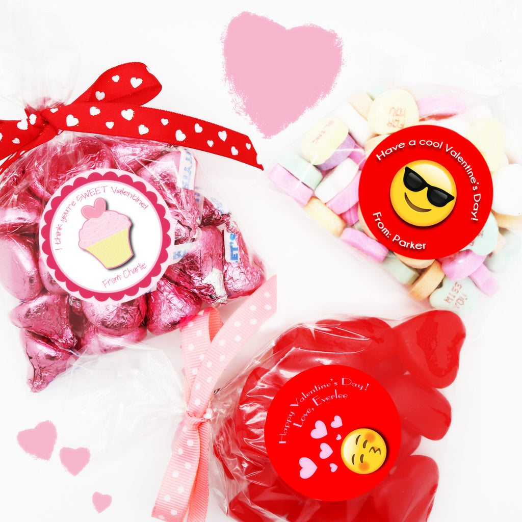 Personalized Valentine Stickers & Bags - Set of 24 - Krafty Chix New