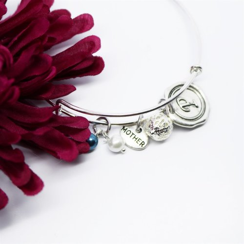 Personalized Charm Bangle Bracelet - Krafty Chix New