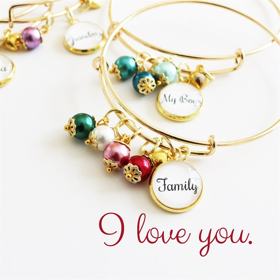 My Family, My Heart Bangle Bracelet - Krafty Chix New