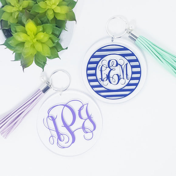 Acrylic Monogram Tassel Key Chains - Krafty Chix