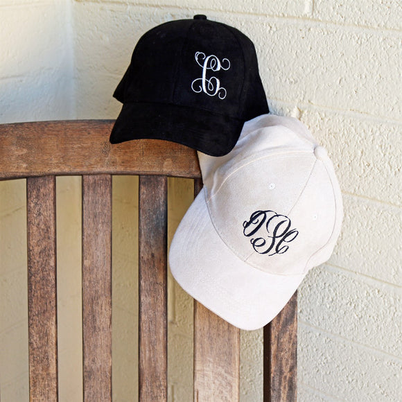 Monogram Suede Caps | 14 Colors - Krafty Chix