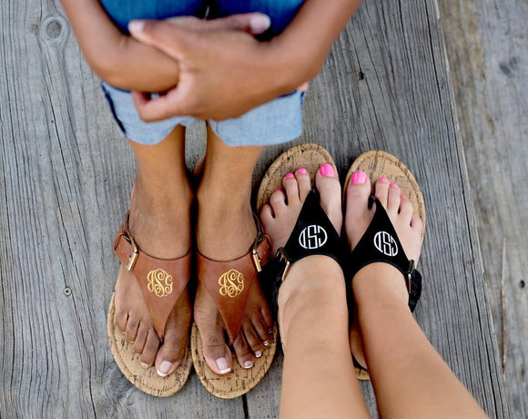 Summer Monogram Sandals- 2 Colors - VioletFox