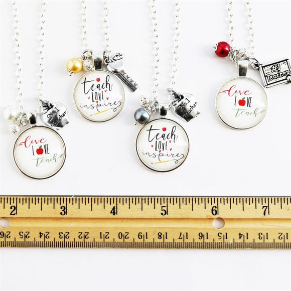 Inspire Teacher Necklace | Bonus Gift Tag - Krafty Chix