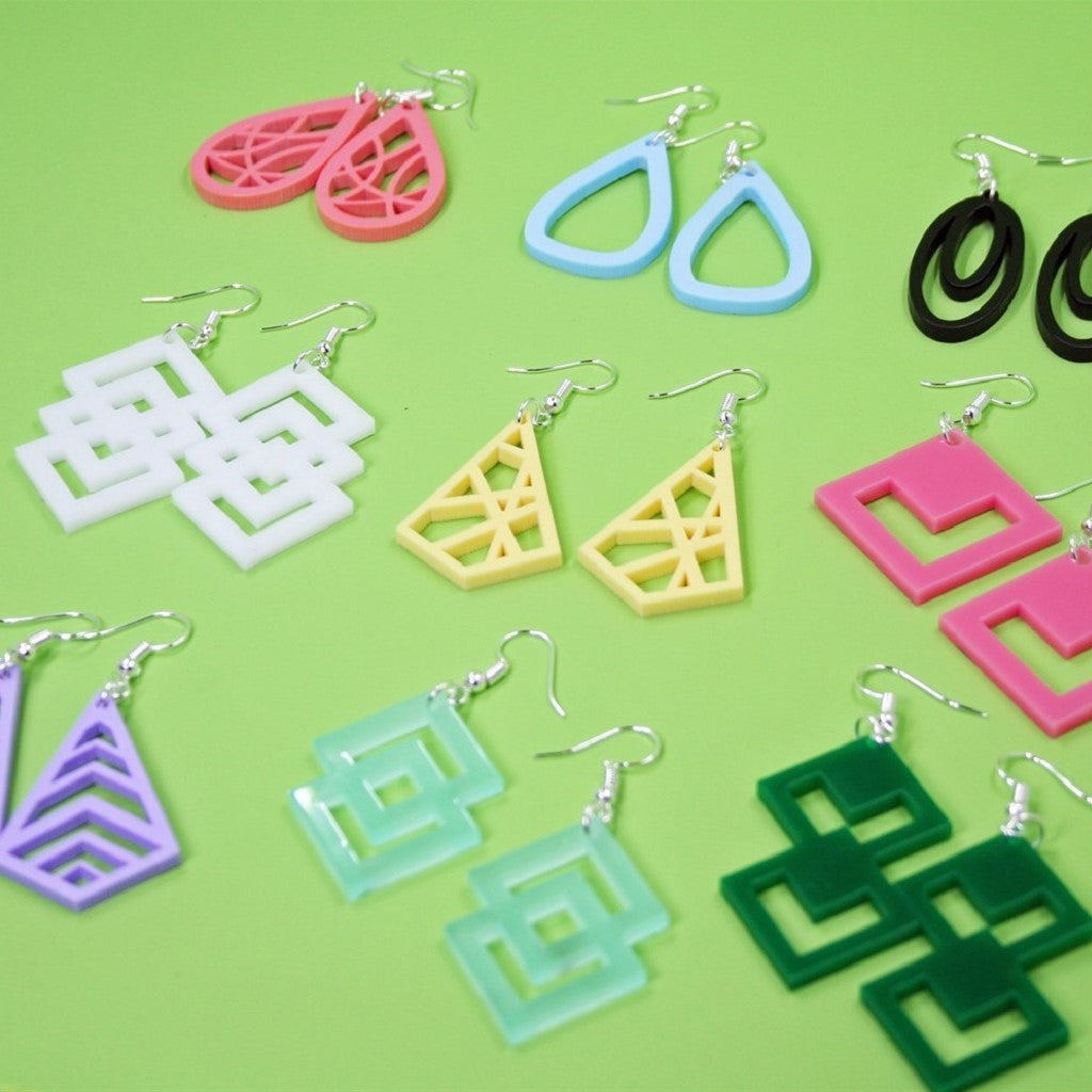 Laser Cut Geometric Earrings - Krafty Chix New