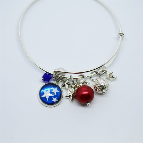 Patriotic Bangle | Red, White, & Bling - Krafty Chix New