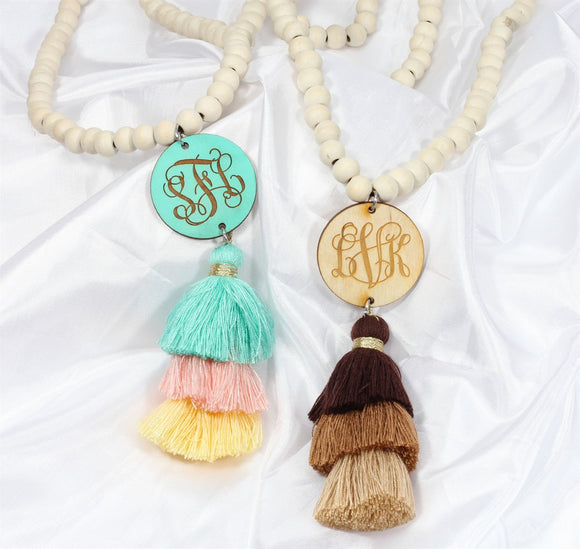 Monogram Wooden Tassel Necklaces