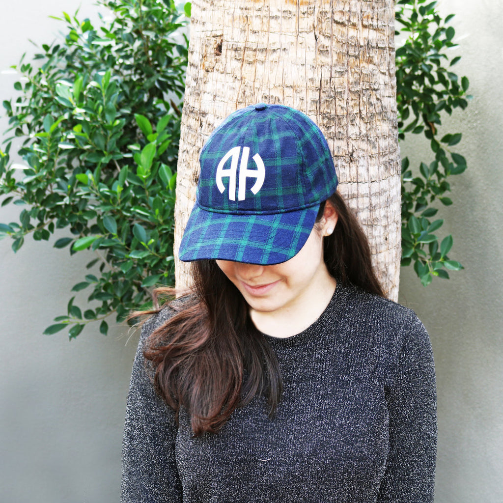 Monogram Plaid Hats - Krafty Chix New