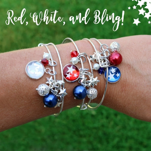 Patriotic Bangle | Red, White, & Bling - Krafty Chix