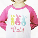 Personalized Raglan Easter Bunny Tail Shirts
