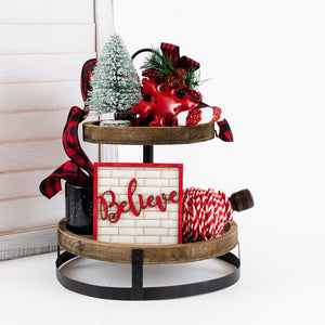 Holiday Tier Tray Sign Decor | Christmas Decor