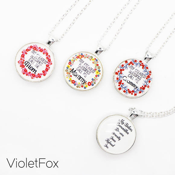 Double Sided Family Pendant Necklace