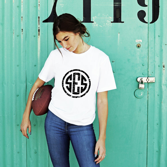 Distressed Monogram T-Shirt - Krafty Chix