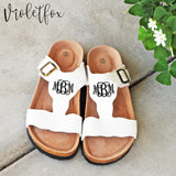 Monogram Buckle Cork Sandals