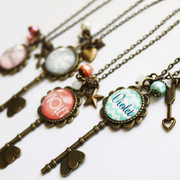 Personalized Skeleton Key Necklaces