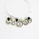 Family Birthstone Bangle with Wax-Seal Charms