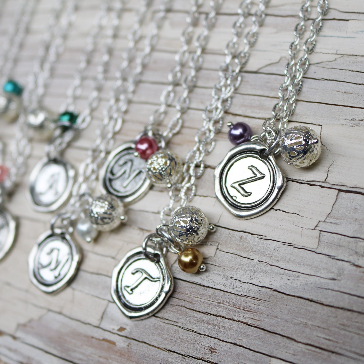 Wax Seal Initial & Birthstone Necklace