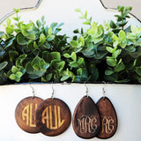 Monogram Wood Earring - Round or Teardrop