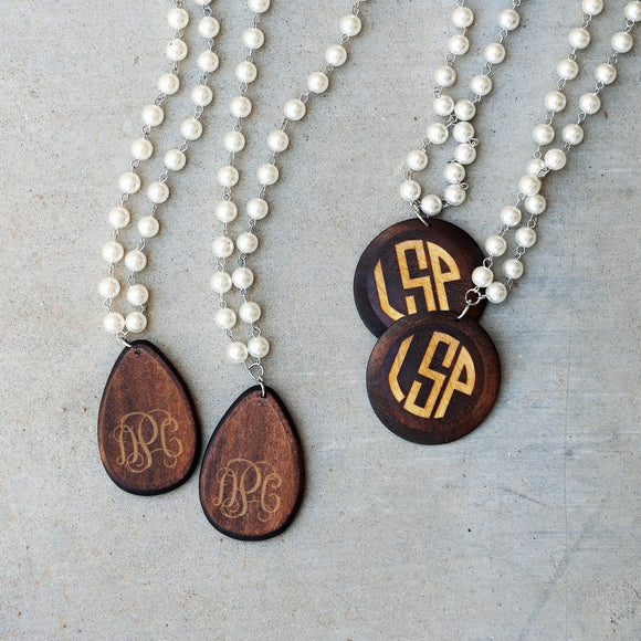 Monogram Large Pearl and Wood Necklace